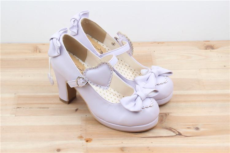 Lolita Shoes Pink Violet Beige Love Heart Princess Boots