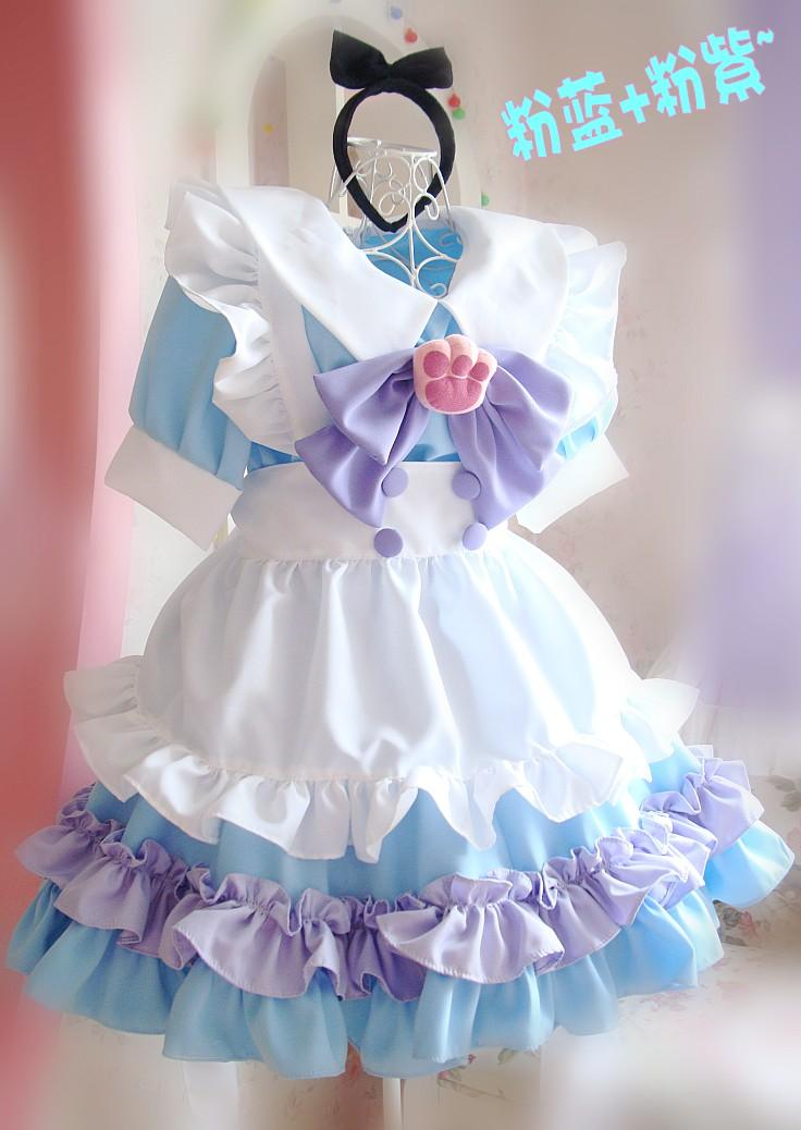 Good quality Cosplay Maid Cat-pad Lolita Dress, 5 Pcs A Set Free shipping