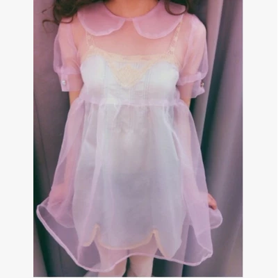 AMO Soft Sister Harajuku Perspective Smock Dress Short Sleeves
