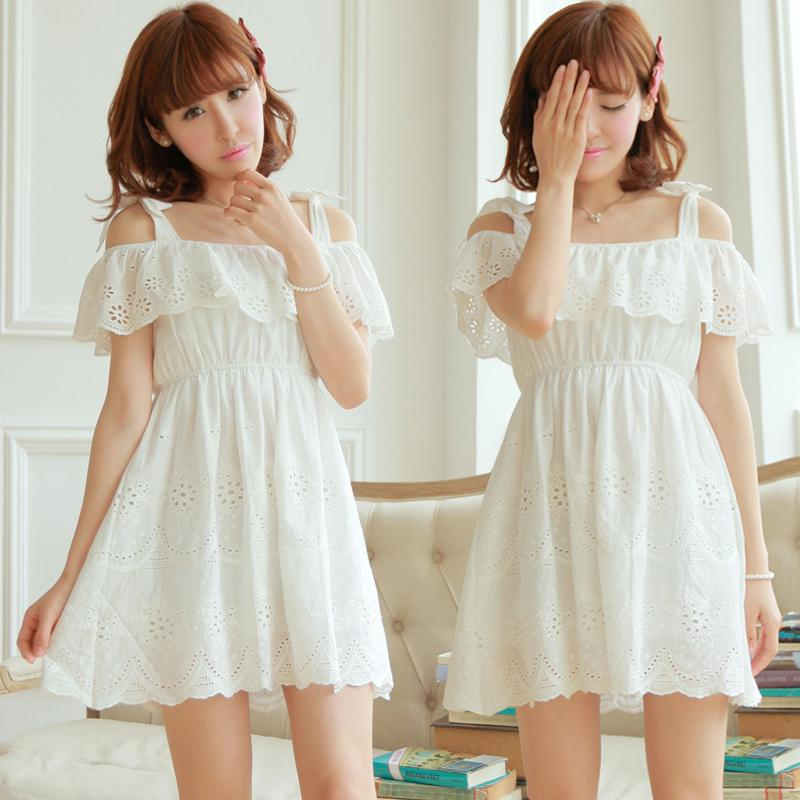 Sweet Hollow Off Shoulder Strap Cotton Dress White