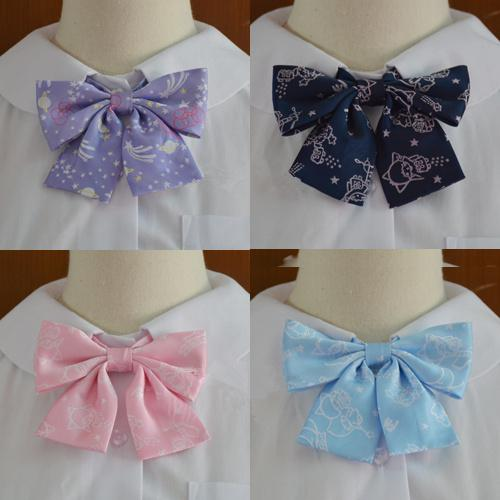 Candy Color Dot Sky Print School Bow Tie Japanese JK