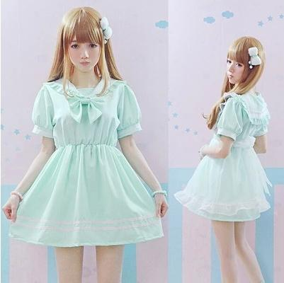Cute Mint/White Lolita Sailor Dress