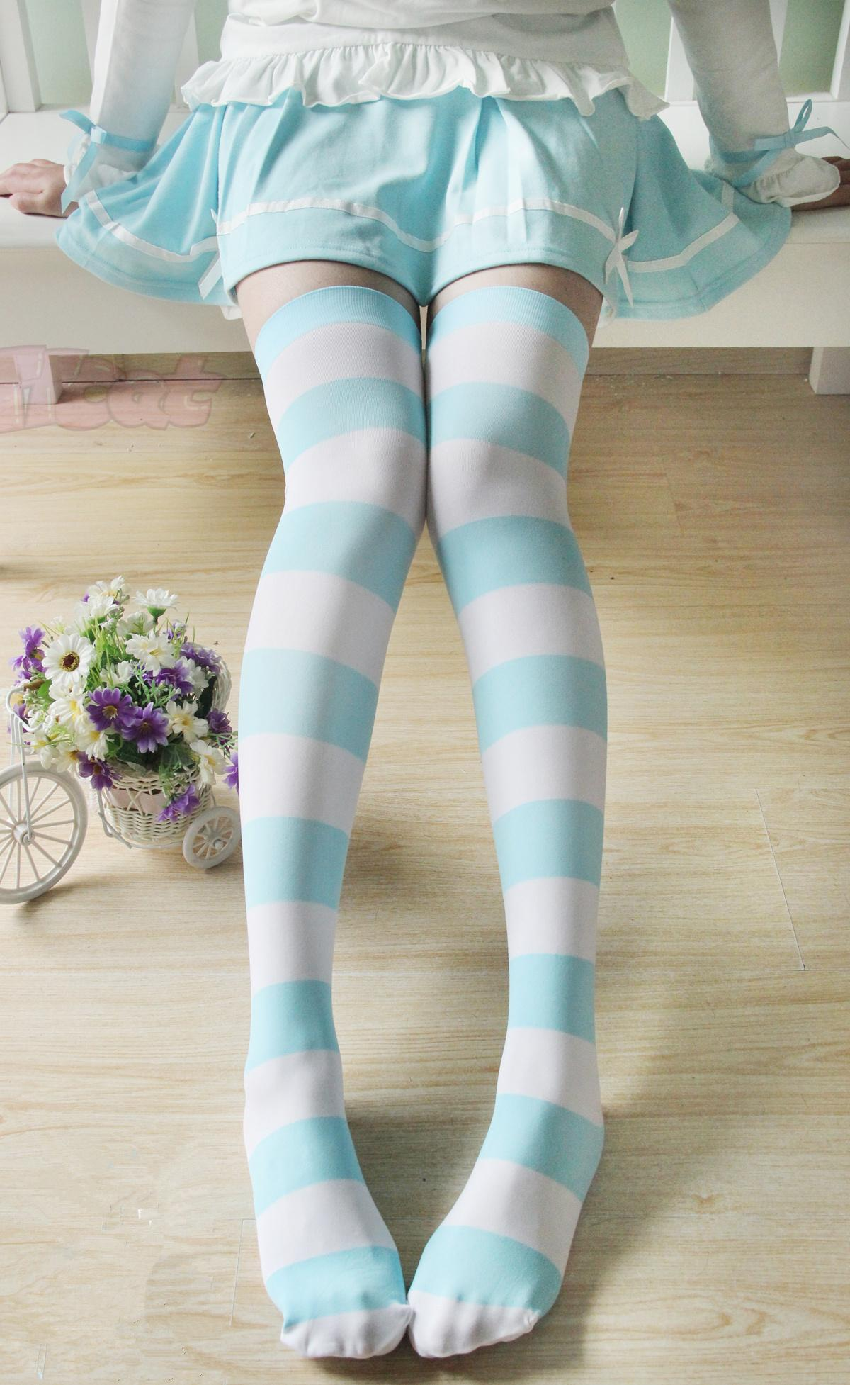 Kawaii Japanese COS Velvet Blue Stripes Baby Tights Leggings