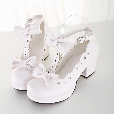 White Cute Lolita Bow Loves Cut Out Sweet Sandals Shoes