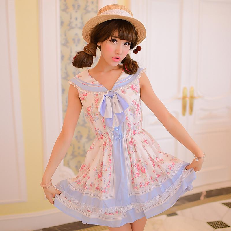 Japanese Bow Floral Chiffon Sailor Vest Dress With Bowknot