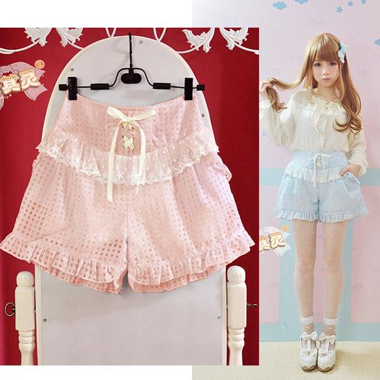 Strechy Lace Up Kawaii Soft Sister Lattice Lace Shorts