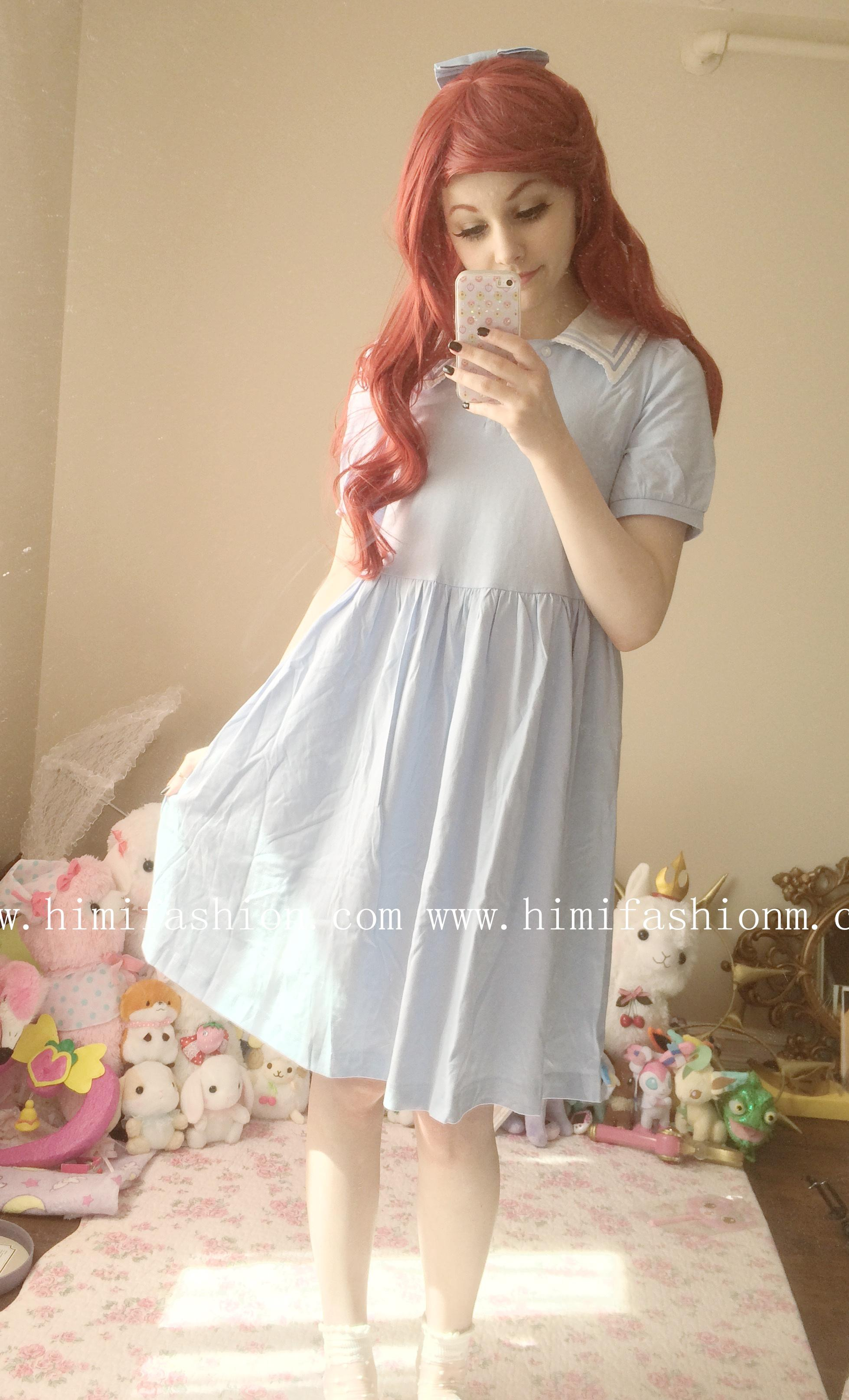Sailor Collar Cotton College Dress Sky Blue Knee-length