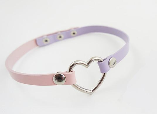 Kawaii Heart Shape Steel Leather Choker