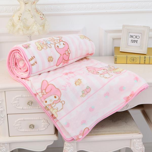 Cartoon Flannel Blanket Air conditioning Blanket Sheet + 1 PCS Pillowcase