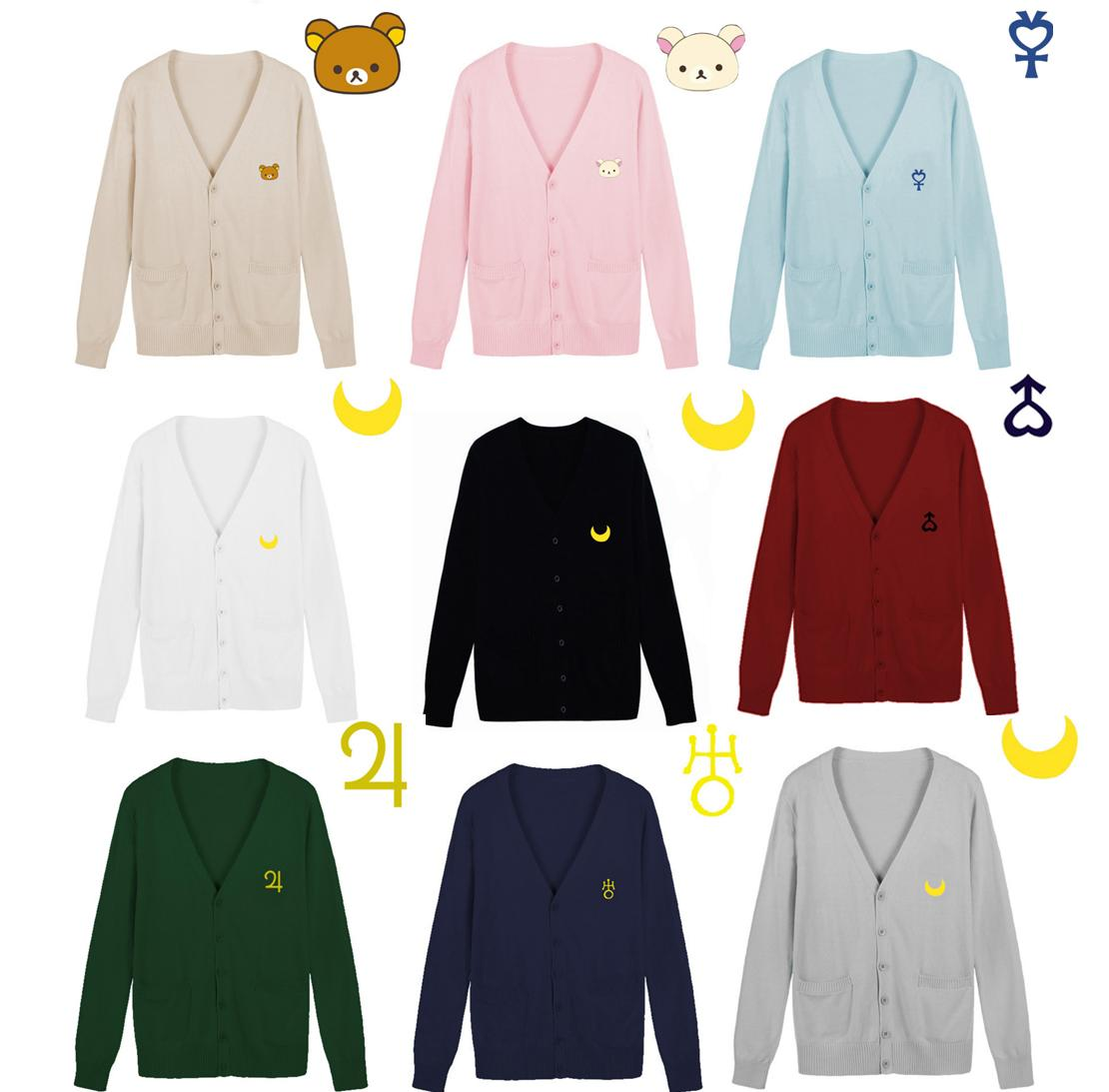 S--XXL Sailor Moon Bear Embroidery JK Uniform Knitting Cardigan