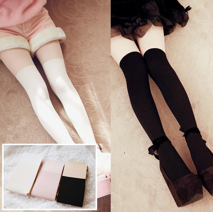 Winter Fleece Fake Knees Leggings