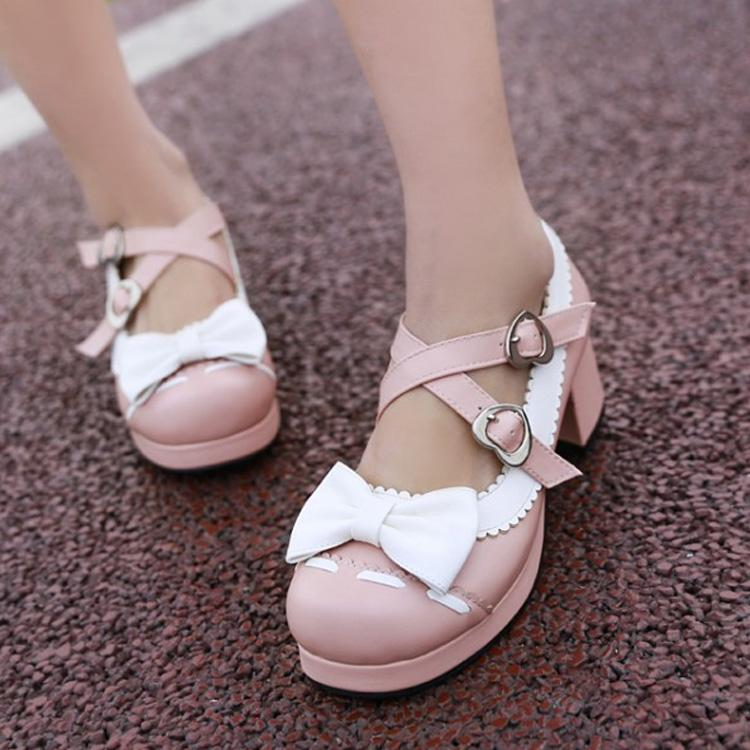Lolita Shoes Bowknot Cross Bandage Vintage Shoes