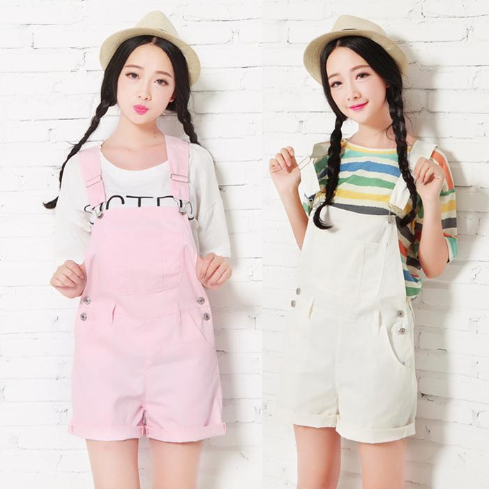 Spring Dressing College Girl Strap Shorts White Pink