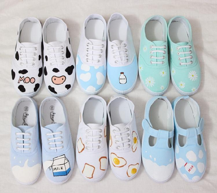 Cute Milk Bottle Print Freehand Cute White Shoes