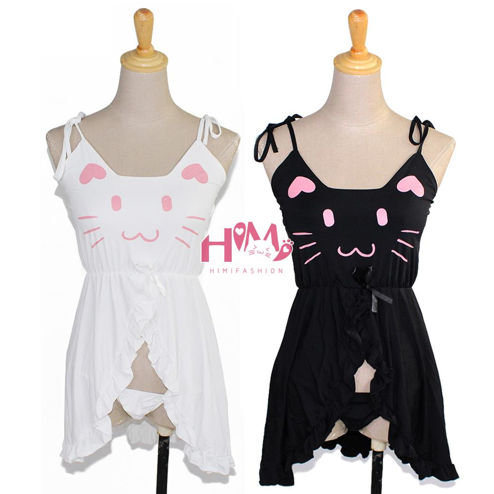 Black/White Cute Cat Rmbroiedered Pajamas Soft Cotton Homewear Top 1 Pcs