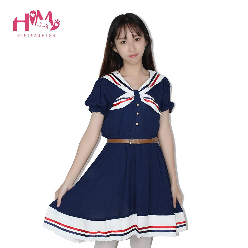 Japanese Sailor Collar Short Sleeves Sweet College Dress With Belt 3 Colors