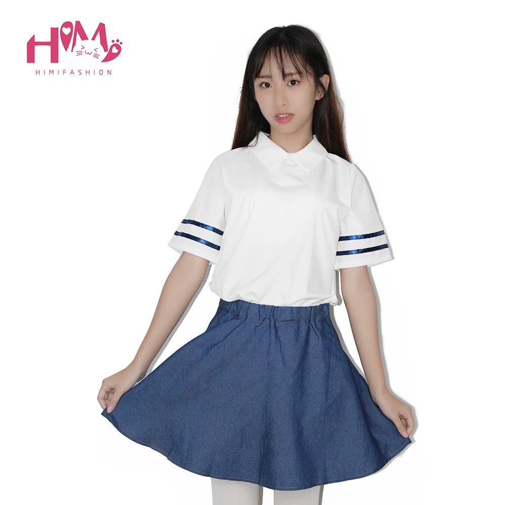S--2XL Korea Style College Uniform Chiffon Shirt + Denim Skirt A Set