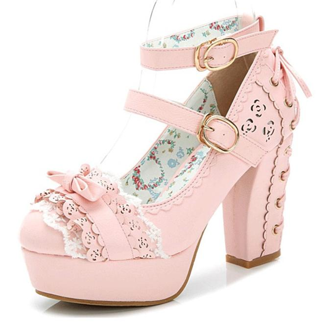 Princess Flower Hollow Bow Pearl Lace Heels