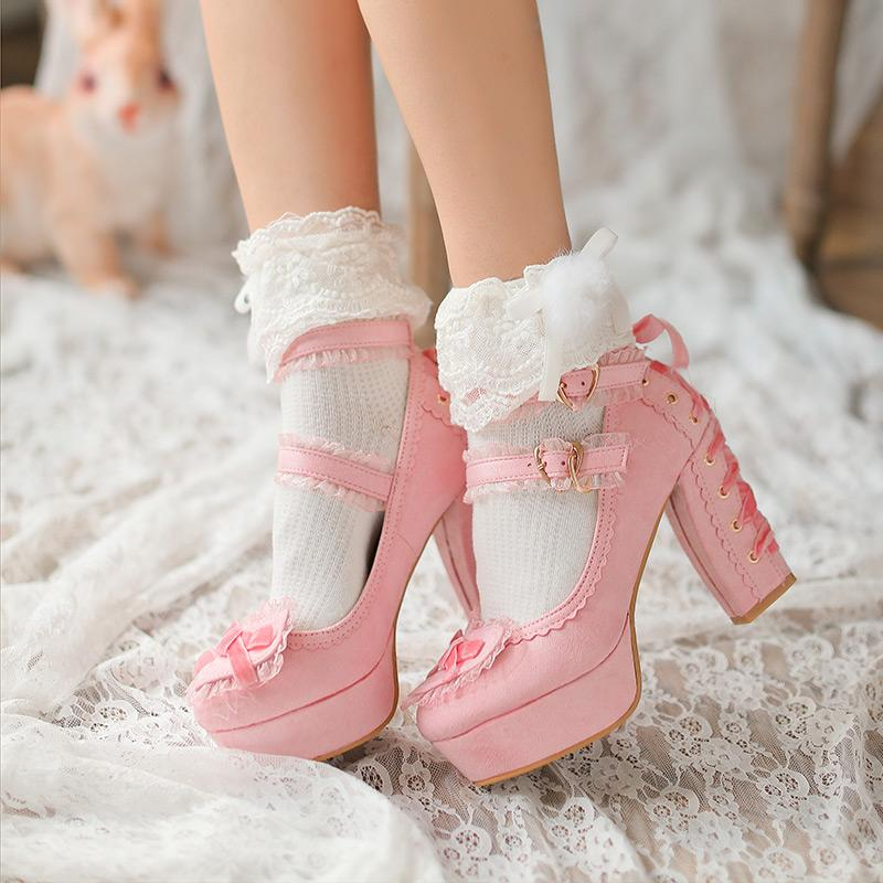 Sweet Heart Bow Lace Bandage Velvet Heels Red/Pink