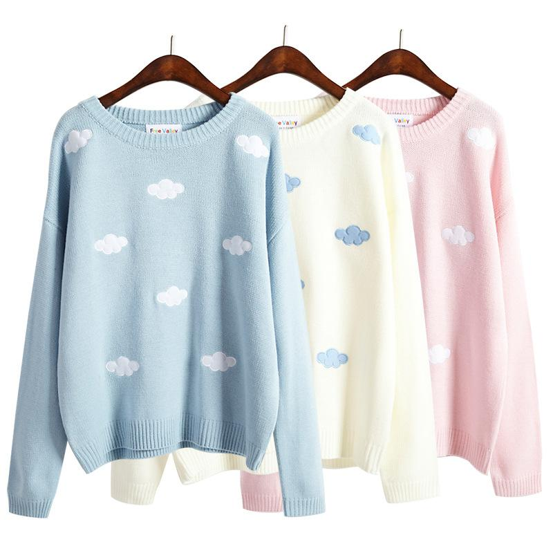 Cloud Knit Pullover Pink Blue White