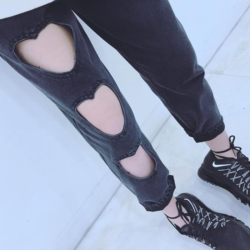 Harajuku Heart Cut Out Black Jeans