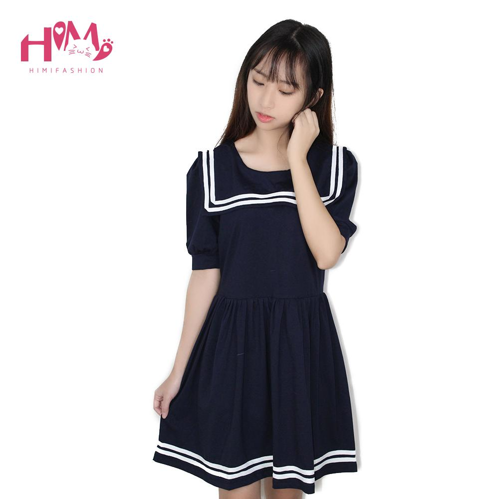 Sailor Collar Loose Cotton Dress