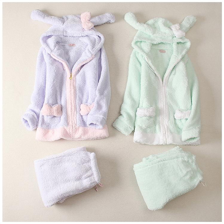 Rabbit Ear Coral Fleece Leisure Pajamas