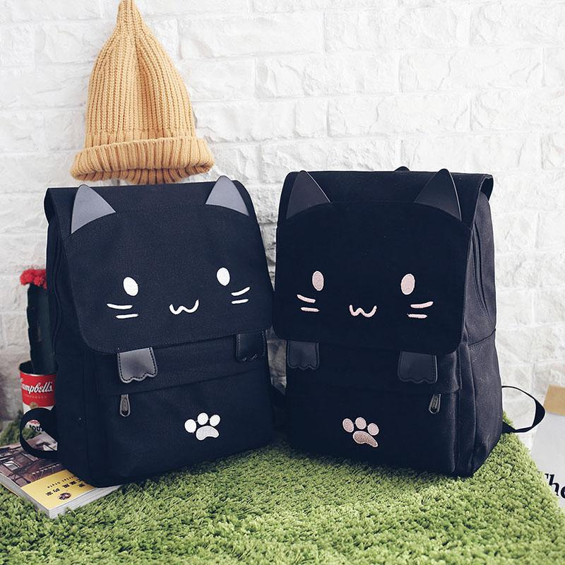 Black Cat Canvas School Backpack