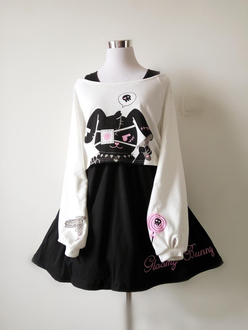 Harajuku Black Rabbit Dress 2 Pieces