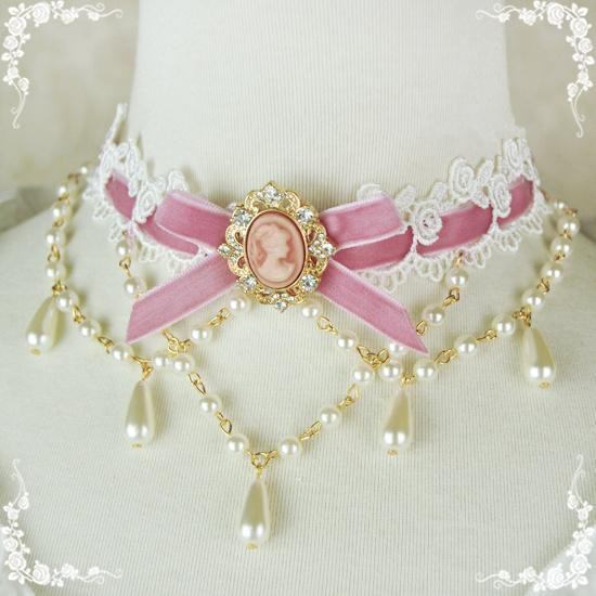 Lolita Pearl Velvet Necklace 11 Colors
