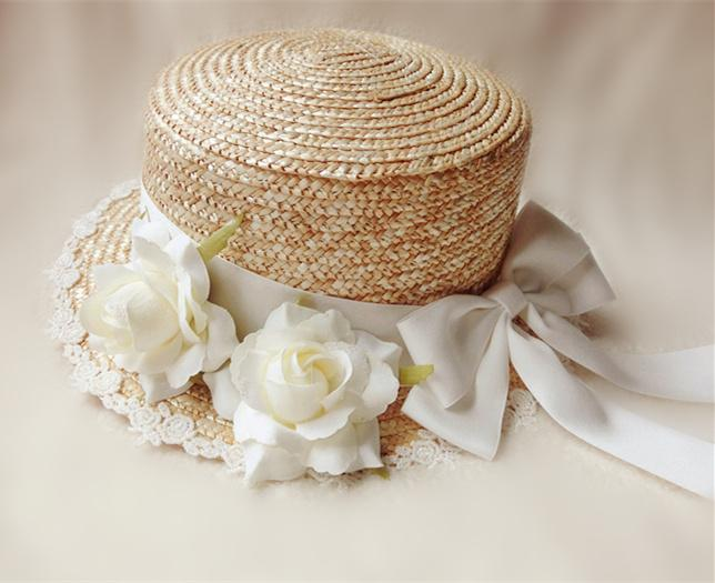 Lolita Manual Rose Straw Hat 2 Colors