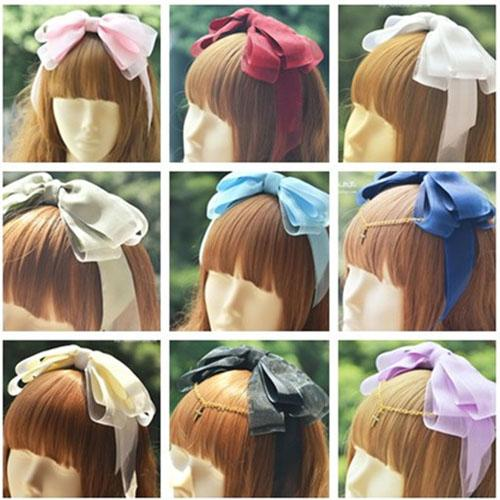 Lolita Bowknot Glass Yarn Hair Hoop 11 Colors
