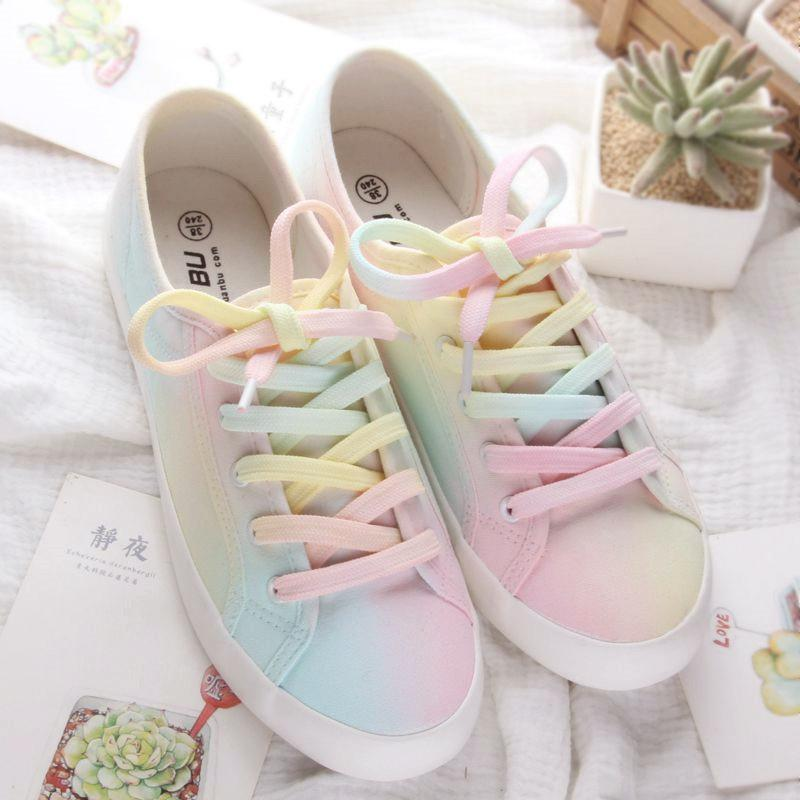 Pastel Painting Canvas Flat Shoes 3 Colors