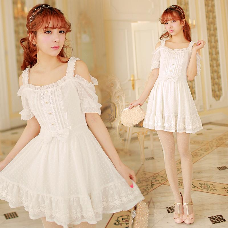 Sweet Off-shoulder Chiffon White Dress