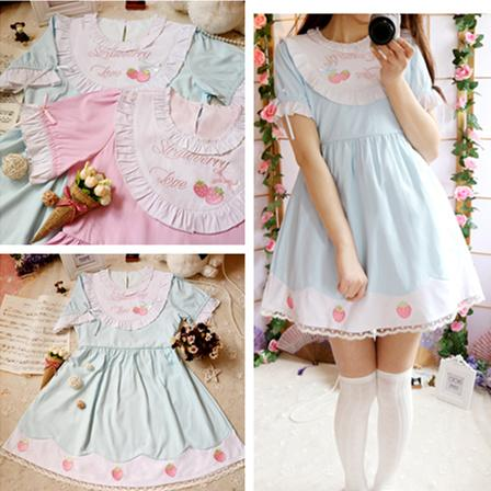 Lolita Strawberry Dolly Dress 2 Colors