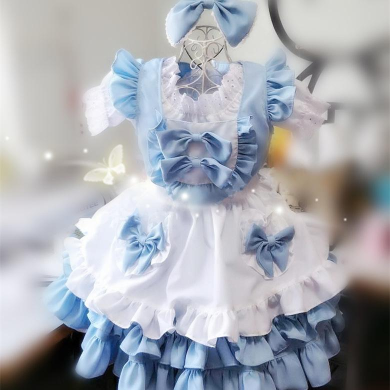 Falbala Bows Lolita Dress Cos 4 Pieces Set