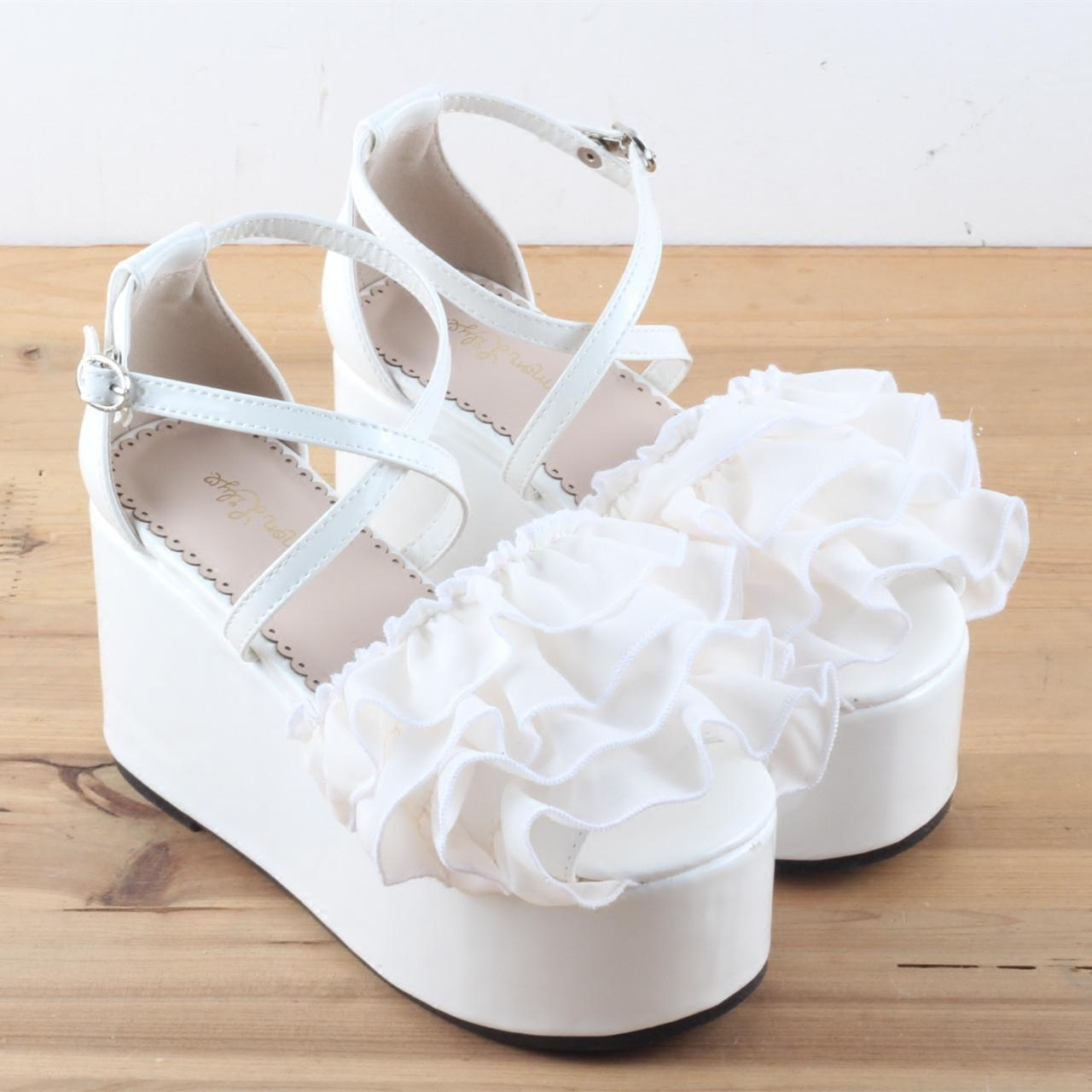 Falbala Chiffon Cream Sandals