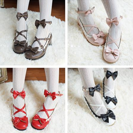 Sweet Lolita Cream Bow Cross Shoes