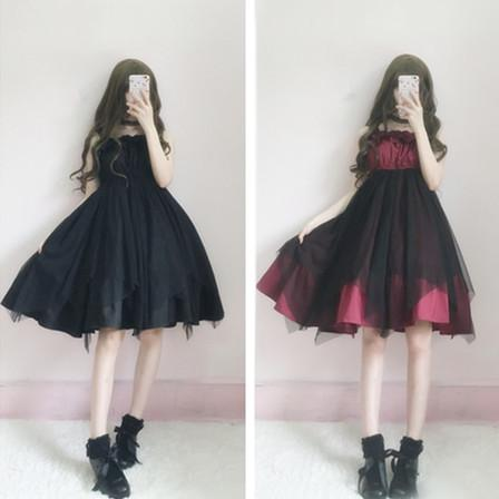 Lolita Dark Black Irregular Strap Dress