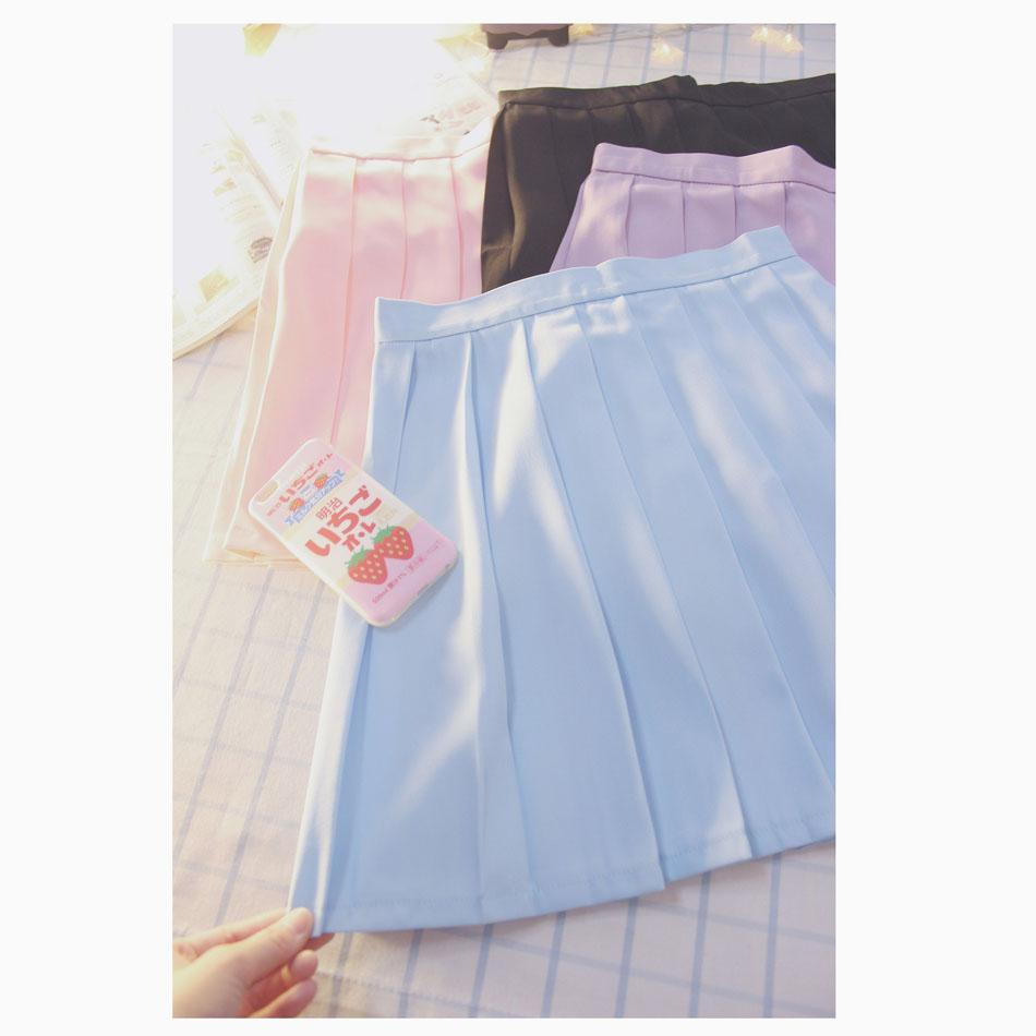 Ice-cream Colors High-waist Pleated Skirt