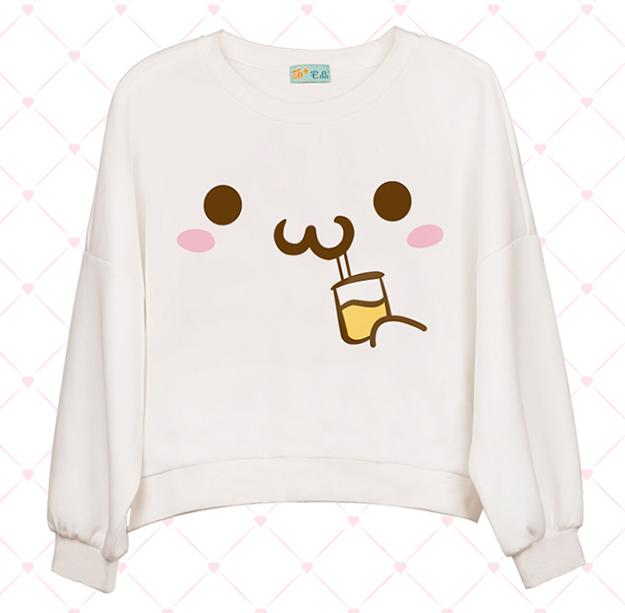 Kawaii Cartoon Face Bat Sleeve Sweatshirt
