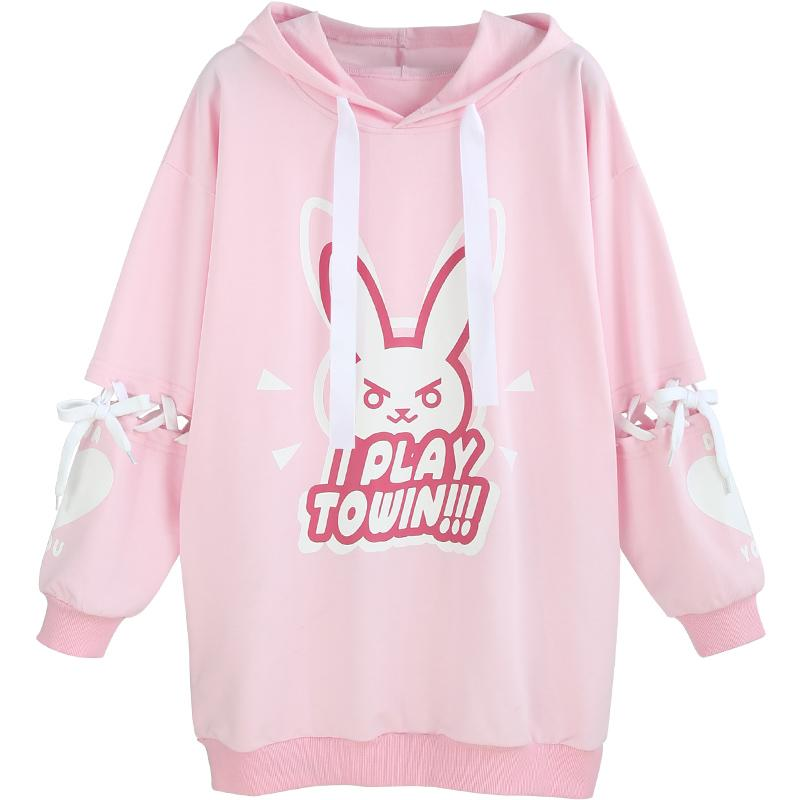 Pink Lovely Rabbit Pattern Bandage Long Sleeves Long Hooded Hoodie