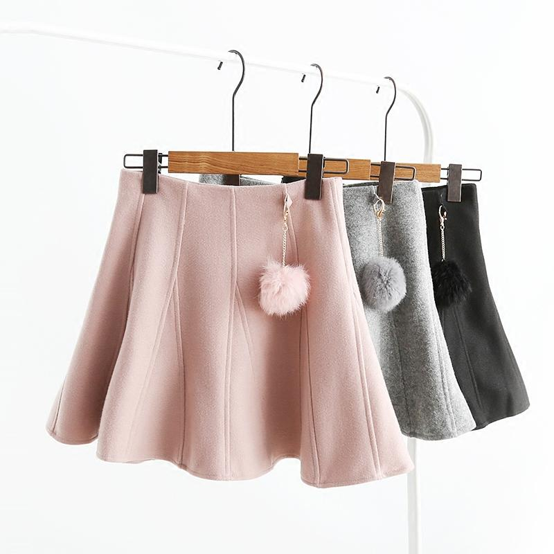 Winter Sweet And Lovely Ball High Waist Woolen Skirt A-line Skirt