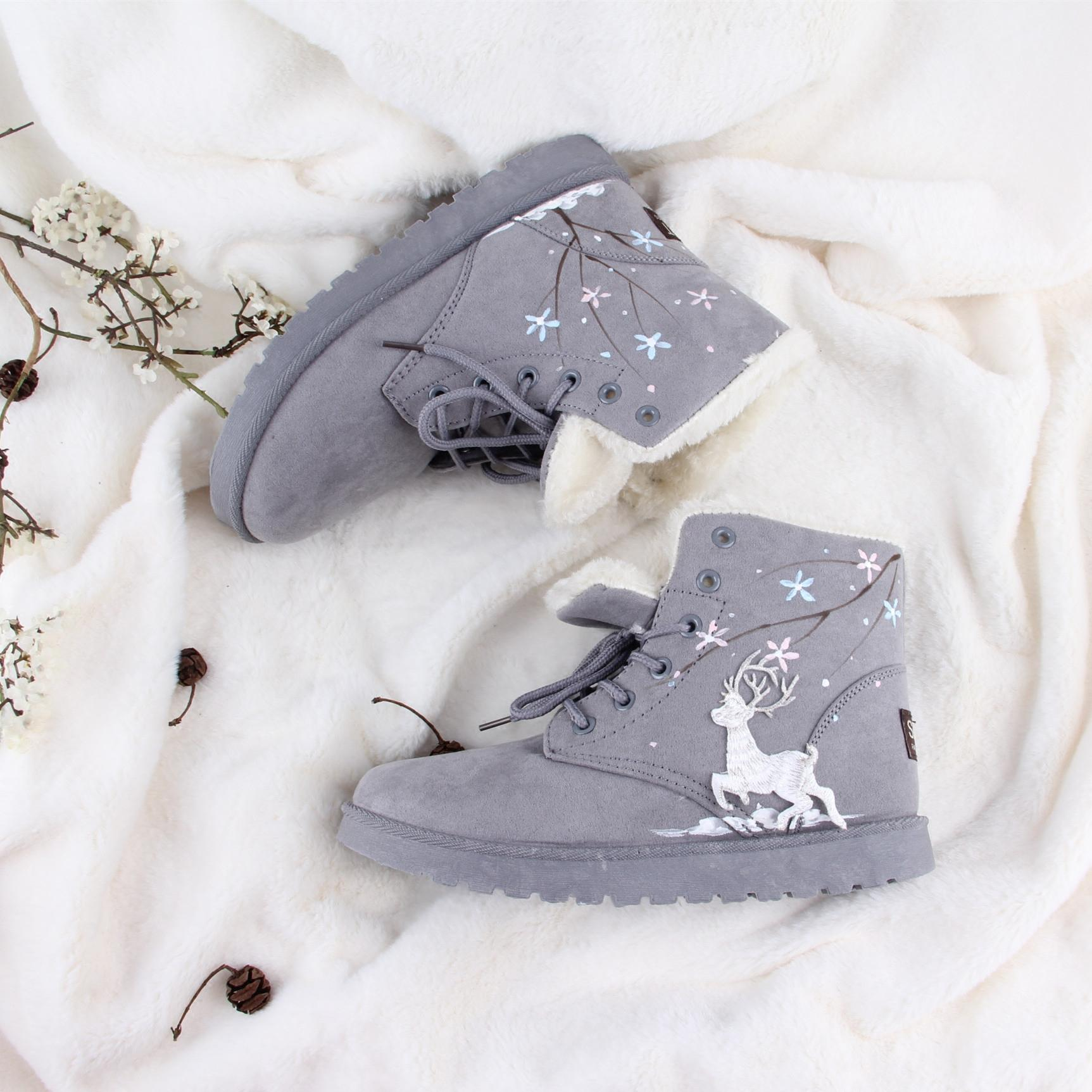 Winter Warm High Shoes Lovely Deer And Snowflake