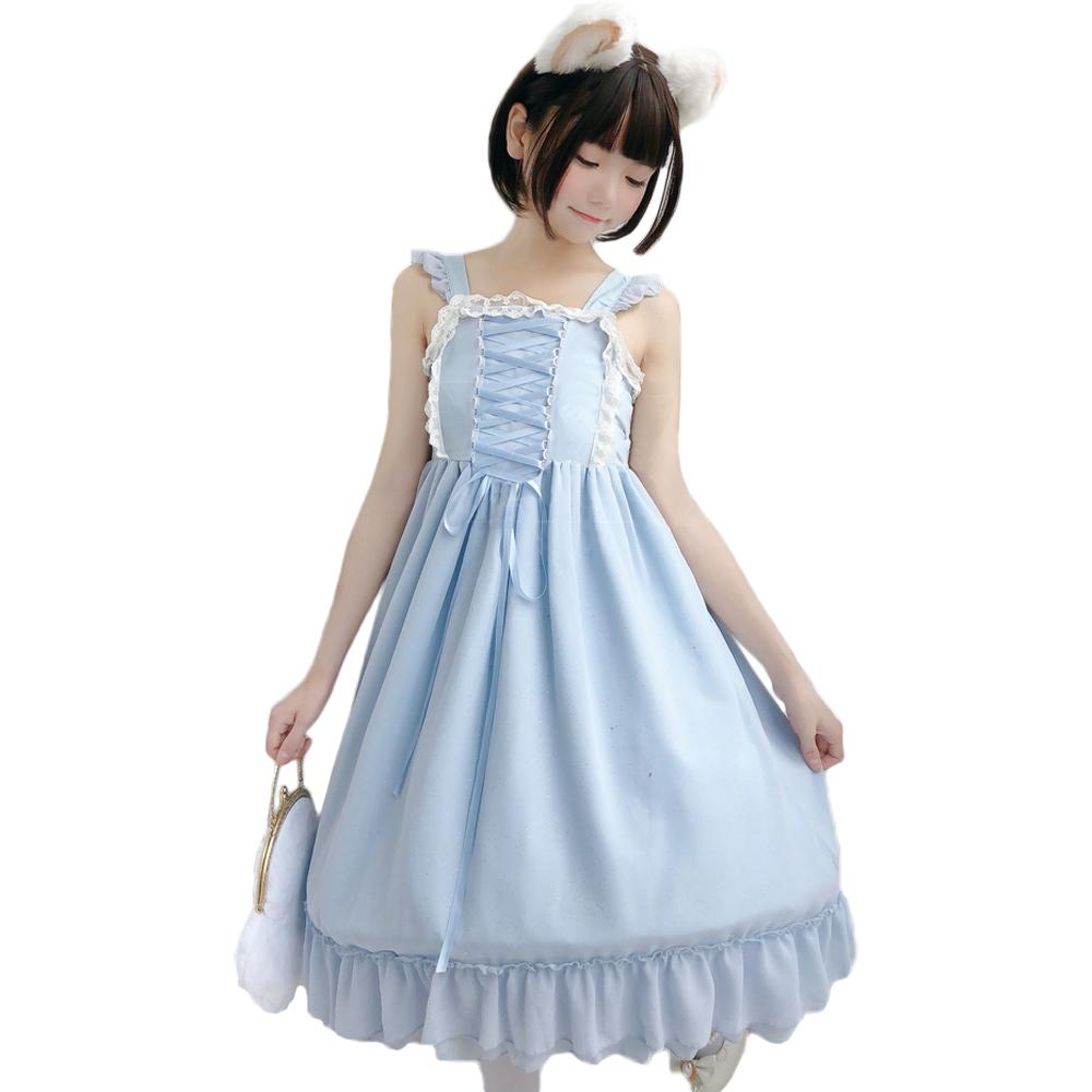 Lolita Dress Constellation Chiffon Lotus Leaf Layered Sling Dresses