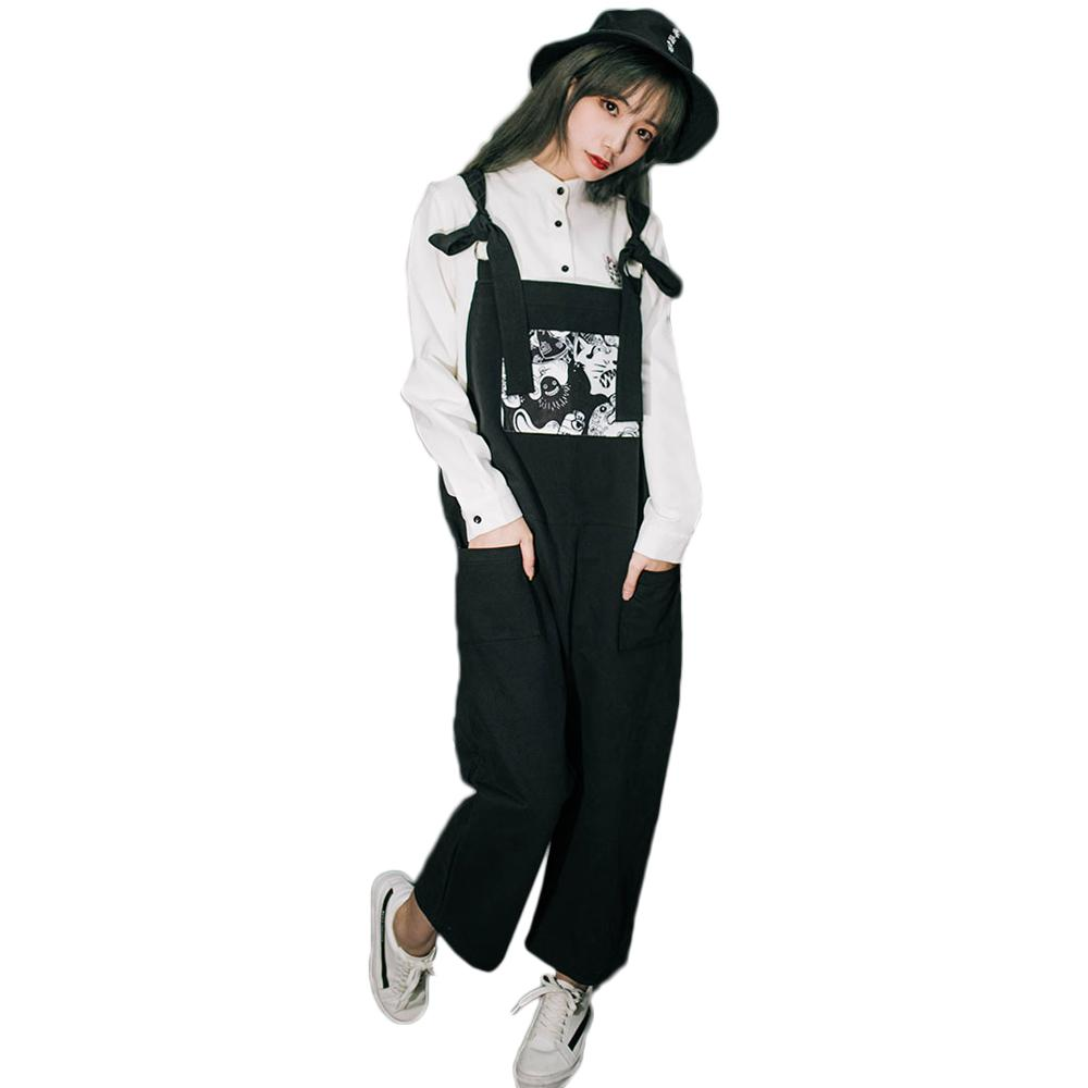 Women Rompers Harajuku Ghost Dark Oversize Loose Cropped Pants Black