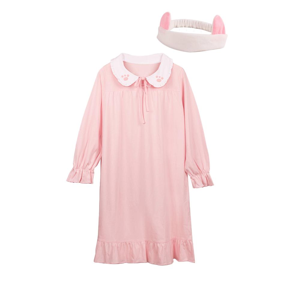 Ladies Nightwear Kitty Paws Petter Pan Dolly Pink Dress