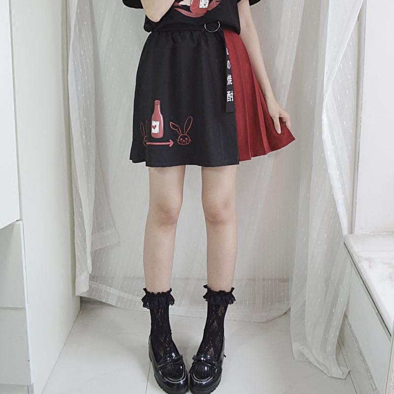 Harajuku Black Red Splice Belt Rabbit Skirt