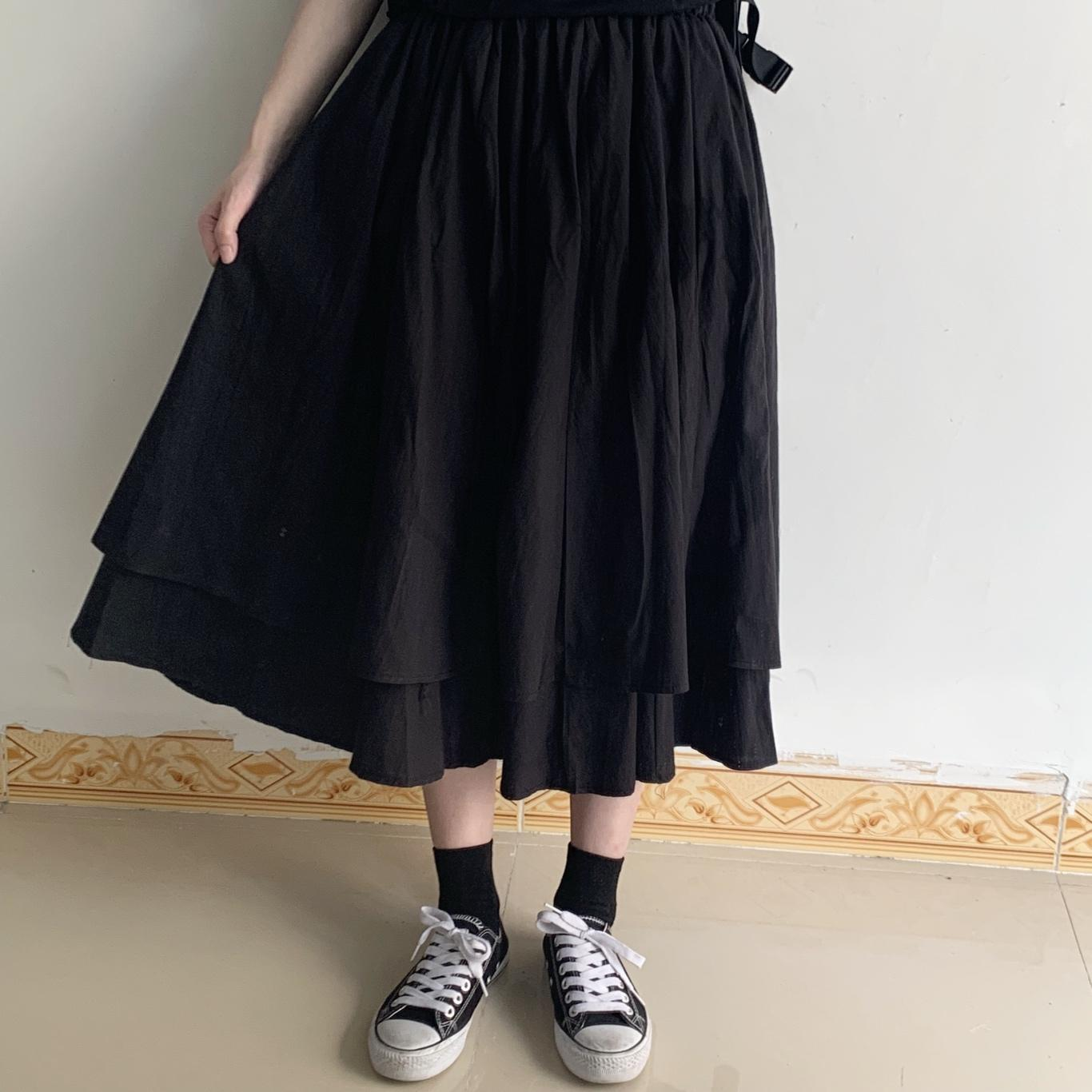 Hemp Cotton Irregular Black Long Skirt