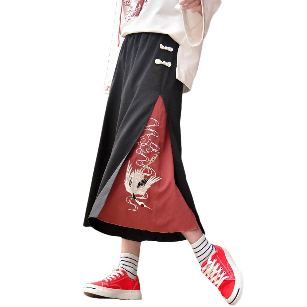 Crane Embroidery Horn Cropped Trousers